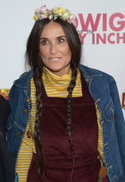Demi Moore went hippie with these loose pigtail braids, complete with a flower crown, at the opening of 'Hedwig and the Angry Inch.'