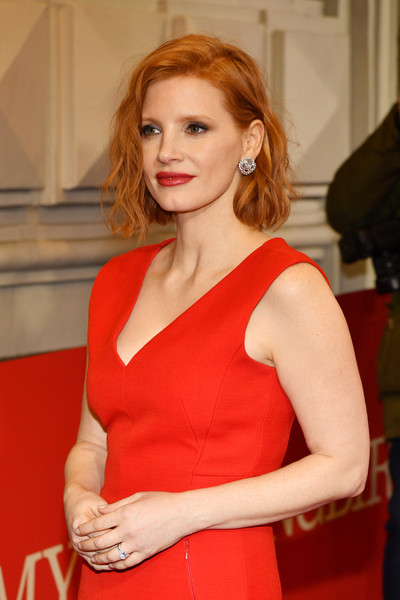 More Pics of Jessica Chastain Midi Dress (2 of 11) - Dresses & Skirts Lookbook - StyleBistro [hair,red,beauty,hairstyle,lady,shoulder,dress,fashion,blond,carpet,to kill a mocking bird,broadway,new york city,shubert theatre,jessica chastain]
