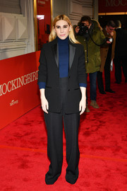 Zosia Mamet teamed a black tuxedo with a navy turtleneck for the Broadway opening of 'To Kill a Mockingbird.'