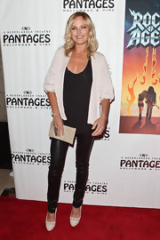 Malin Akerman wore white pumps with cutout details to the 'Rock of Ages' premiere.
