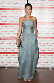 The beauty of Giorgia Surina's look was in the pleating of this ice blue gown.