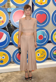 Maggie Gyllenhaal looked youthful in a ribbed nude crop-top by Rachel Comey at the opening party of LOVE: From Cave to Keyboard.