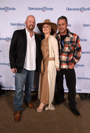 Lady Gaga was casual-chic in a loose camel-colored jumpsuit by Max Mara at the Celebrity Ski & Smile Challenge.