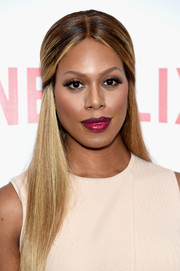 Laverne Cox wore a sleek half-up hairstyle at the 'Orange is the New Black' FYC screening.