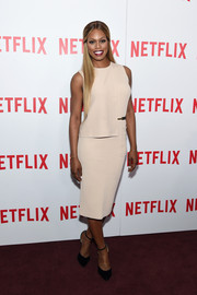 Laverne Cox chose a simple nude knit dress with a half-bodice overlay for the 'Orange is the New Black' FYC screening.