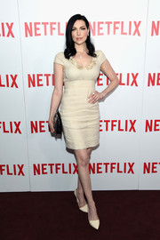 Laura Prepon opted for a simple nude mini dress by Rebecca Taylor when she attended the 'Orange is the New Black' FYC screening.