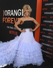 Laverne Cox was impossible to miss in this strapless ruffle gown by Christian Siriano at the premiere of 'Orange is the New Black' season 7.