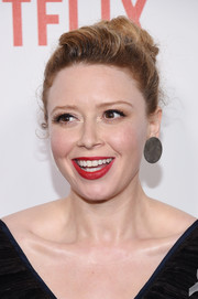 Natasha Lyonne attended the New York premiere of 'Orange is the New Black' wearing her hair in a loose bun.
