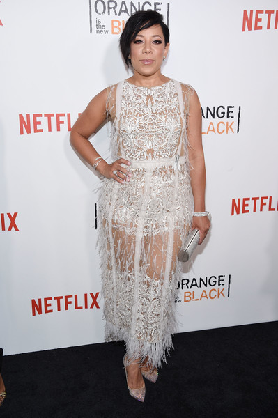 Selenis Leyva wore a pair of glitter pumps for added glamour to her dress.