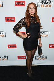 Laura Prepon showed off her long legs with this long-sleeve lace mini LBD.