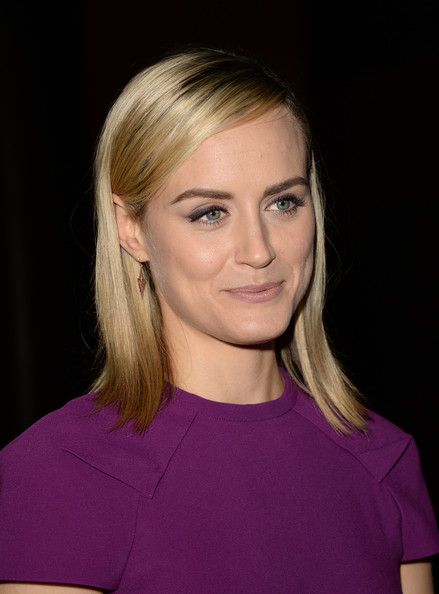 More Pics of Taylor Schilling Geommetric Earrings (1 of 29) - Dangle Earrings Lookbook - StyleBistro [orange is the new black,hair,face,blond,hairstyle,eyebrow,chin,shoulder,beauty,cheek,lip,taylor schilling,california,los angeles,netflix,directors guild of america,panel discussion]