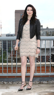 Laura Prepon layered a textured leather jacket over a flapper-style dress for the 'Orange is the New Black' photocall.