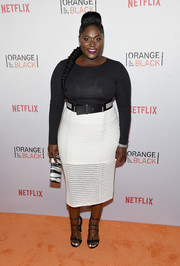 Danielle Brooks wrapped up her curves in a skintight black top for the Orangecon fan event.