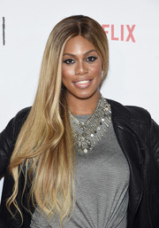 Laverne Cox wore her hair super long and swept to the side during the Orangecon fan event.
