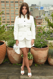 Sofia Richie matched her suit with white Gianvito Rossi mules.