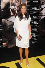 Brooke Shield looked ready for summer in her white frock and silver clutch.