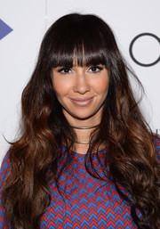 Jackie Cruz looked girly with her ultra-long waves and blunt bangs at the New York premiere of 'The Overnight.'