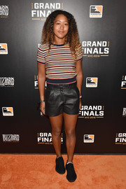 Naomi Osaka completed her outfit with a pair of black leather shorts.