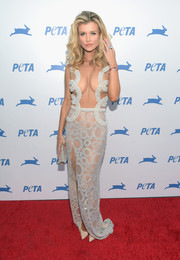 Joanna Krupa stole the show in a see-through Yas Couture by Elie Madi dress with strategically placed beading during PETA's 35th anniversary party.