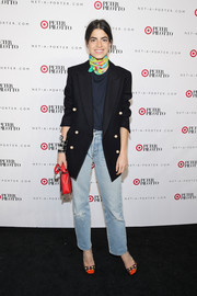 Leandra Medine rocked an oversized black nautical blazer with pearl buttons during the Peter Pilotto for Target launch.
