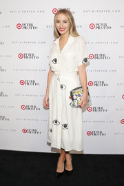 Harley Viera-Newton looked totally fun in a white eye-print shirtdress during the Peter Pilotto for Target launch.