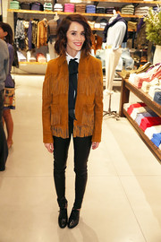 Abigail Spencer channeled her inner cowgirl with this fringed suede jacket while attending the Polo Ralph Lauren + Athlete Ally event.