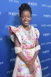 Amanda Gorman wore a floral crop-top and skirt set by ASOS to the 2018 Porter Incredible Women Gala.