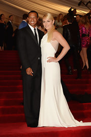 Lindsey Vonn chose this white gown that featured sheer white panels for her evening look at the 2013 Met Gala.