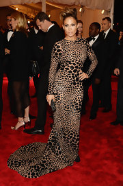 J.Lo chose this leopard-print nude and black gown for her look at the Met Gala.