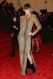 Coco Rocha chose this leopard-print long-sleeve dress that featured 3D butterfly details on the chest and arms for her look at the 2013 Met Gala.