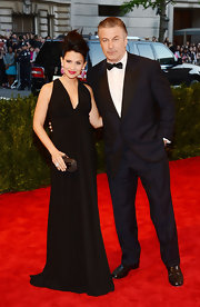Hilaria Baldwin looked stunning in a sleek black gown at the 2013 Met Gala.