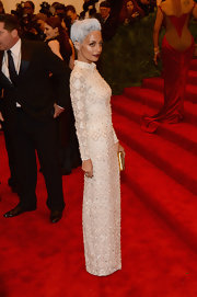 Nicole Richie's embroidered column gown gave her a super feminine and fun look on the red carpet at the 2013 Met Gala.