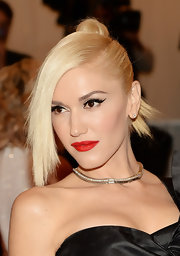 Gwen Stefani showed off her signature red lips at the Met Gala in NYC.