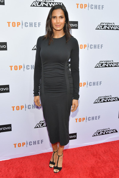 Padma Lakshmi Form-Fitting Dress [top chef,project runway,clothing,dress,shoulder,little black dress,cocktail dress,carpet,red carpet,fashion,premiere,footwear,padma lakshmi,fashion,vibiana,los angeles,california,bravo,a night of food and fashion fyc,red carpet event]