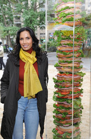 Padma Lakshmi was in the mood for color-blocking, pairing a bright yellow scarf with a red turtleneck.