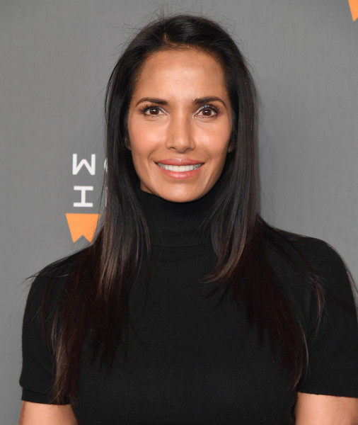 Padma Lakshmi Layered Cut [photo,hair,face,hairstyle,chin,shoulder,eyebrow,cheek,lip,neck,black hair,eighth annual women in the world summit,padma lakshmi,angela weiss,lincoln center for the performing arts,new york city,afp]
