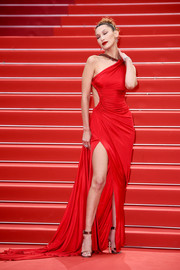 Bella Hadid was red-hot in a high-slit cutout gown by Roberto Cavalli at the 2019 Cannes Film Festival screening of 'Pain and Glory.'