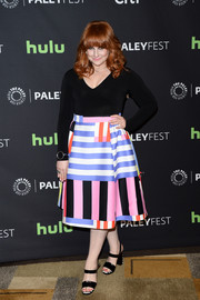 Julie Klausner brightened up her look with a color-block skirt.