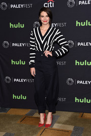 Lauren Cohan was casual-chic in a black-and-white striped V-neck sweater by Chloe at the PaleyFest Los Angeles presentation of 'The Walking Dead.'