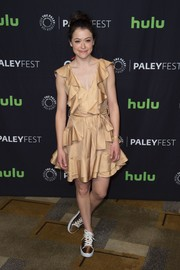 Tatiana Maslany kept it breezy and fun in a striped gold ruffle dress by Zimmermann during PaleyFest Los Angeles.