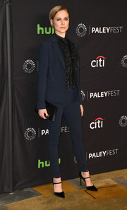 Evan Rachel Wood suited up in navy Roberto Cavalli for the 'Westworld' panel during PaleyFest Los Angeles.