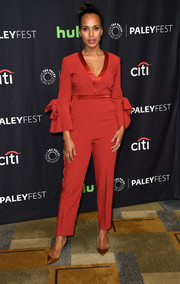 Kerry Washington kept it sweet and smart at the 'Scandal' panel during PaleyFest Los Angeles in a brick-red Roksanda jumpsuit with satin trim and beribboned bell sleeves.