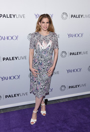 Anna Chlumsky made a demure choice with this fully embroidered Peter Pilotto dress for the Paley Center 'Veep' event.