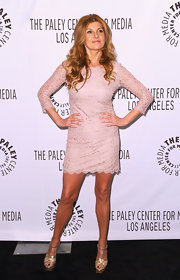 Connie Britton looked lovely in this blush lace cocktail dress for PaleyFest.