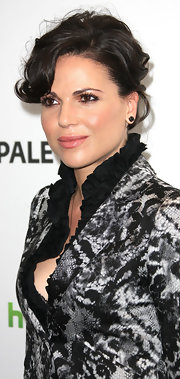 Lana Parrilla attended PaleyFest 2012 wearing her hair in a bobby-pinned updo with long side-swept bangs.