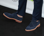 Andrew Rannells looked casual and cool in these blue suede loafers.