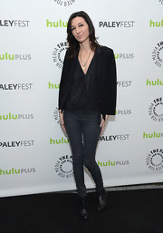 Allison Adler opted for a classic black blazer while attending PaleyFest 2013.