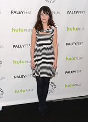 Zooey Deschanel opted for a black and white striped dress to top off her mod-inspired look at PaleyFest 2013.