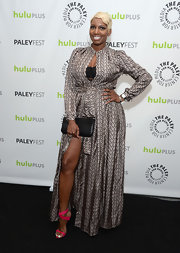 NeNe Leakes rocked this print satin dress with front slit while attending PaleyFest.