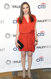 Rachael Leigh Cook complemented her dress with a fierce pair of monochrome snakeskin platform sandals.